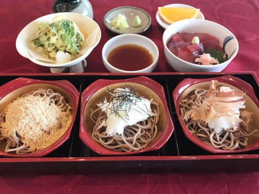 蕎麦三昧(長芋・胡麻・大根)漬け鮪丼と山菜天